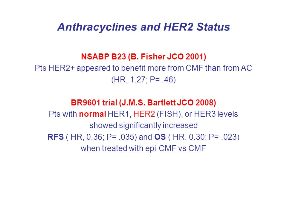 Anthracyclines and HER2 Status
