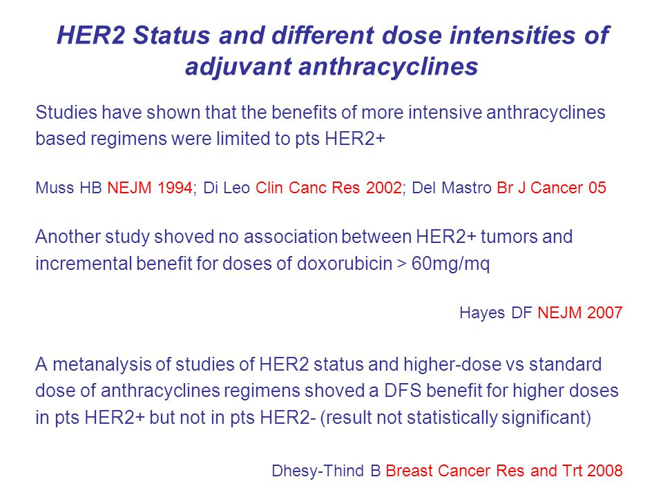 HER2 Status and different dose intensities of adjuvant anthracyclines