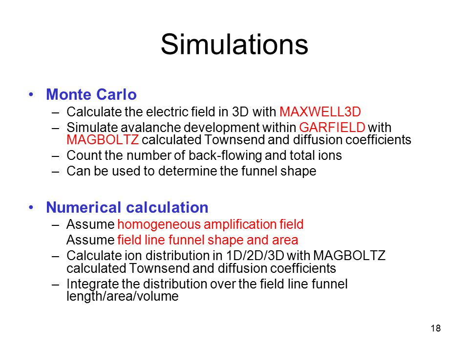 Simulations Monte Carlo Numerical calculation