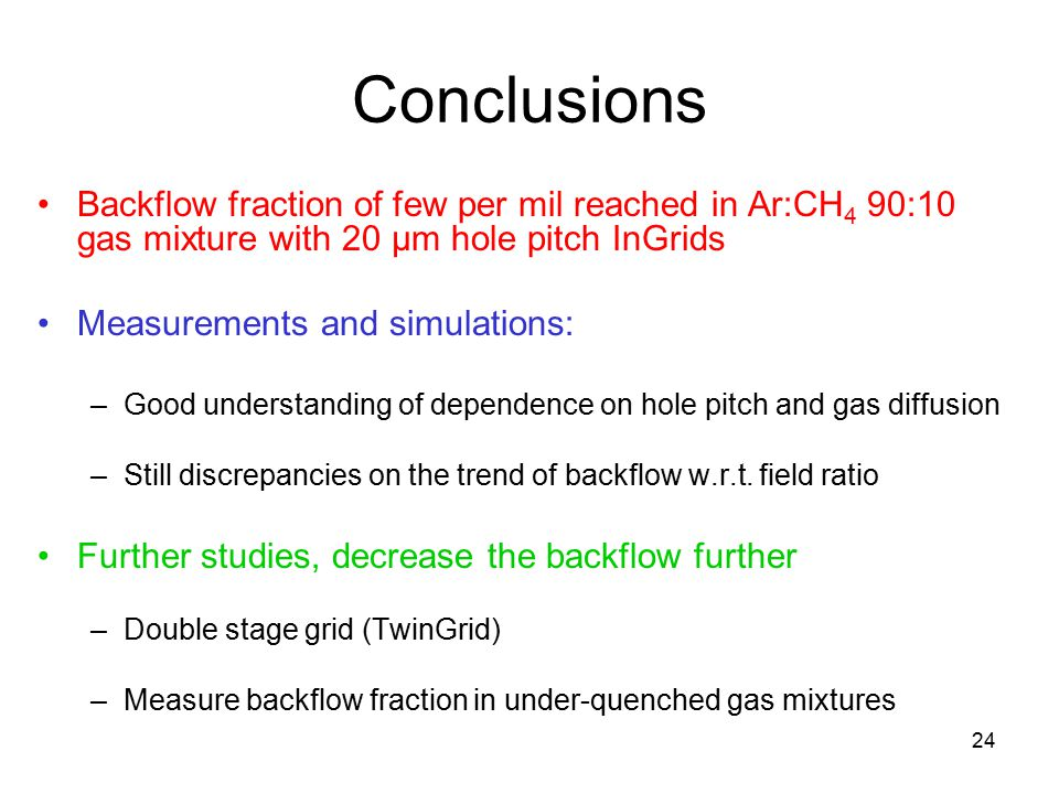 Conclusions Backflow fraction of few per mil reached in Ar:CH4 90:10 gas mixture with 20 μm hole pitch InGrids.