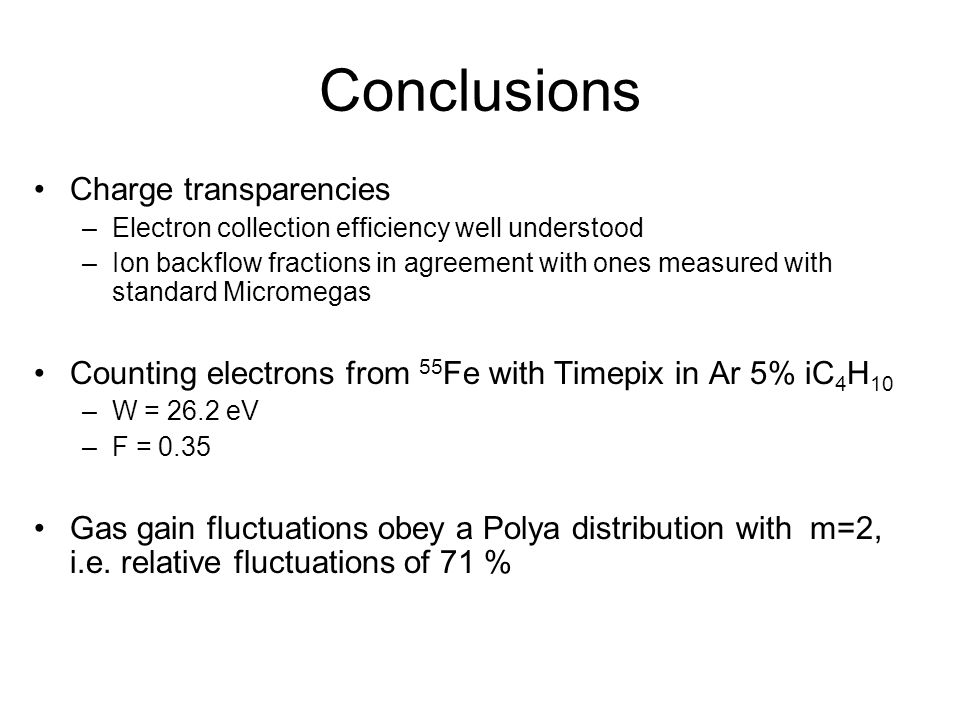 Conclusions Charge transparencies