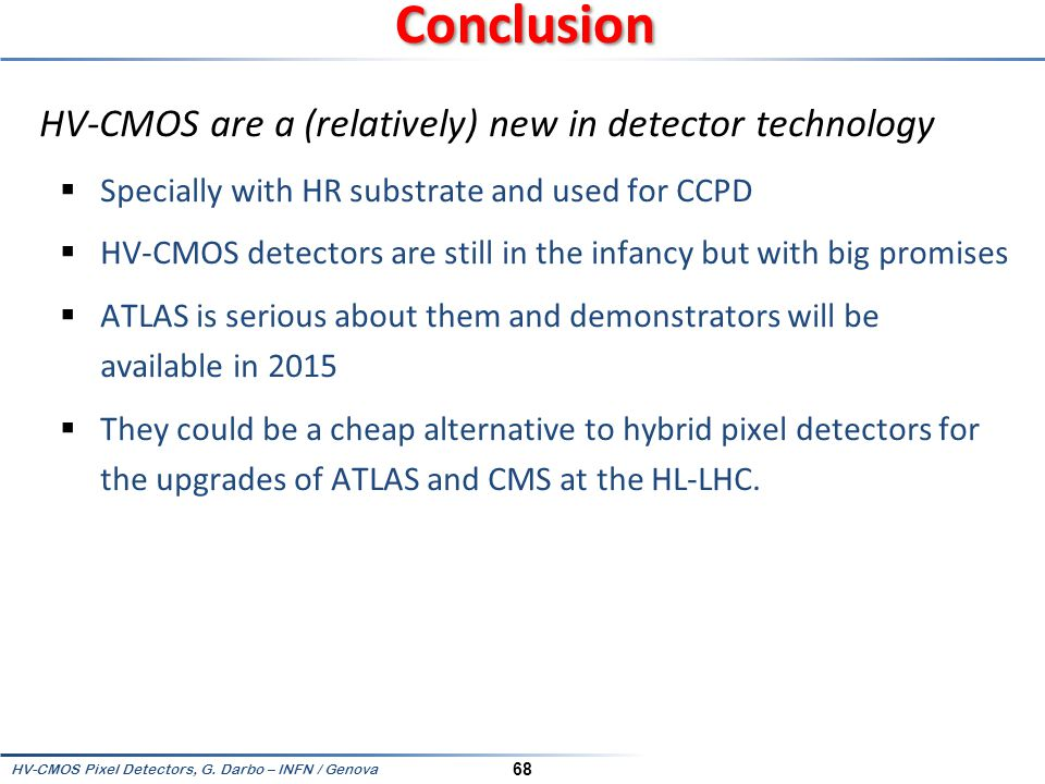 Conclusion HV-CMOS are a (relatively) new in detector technology