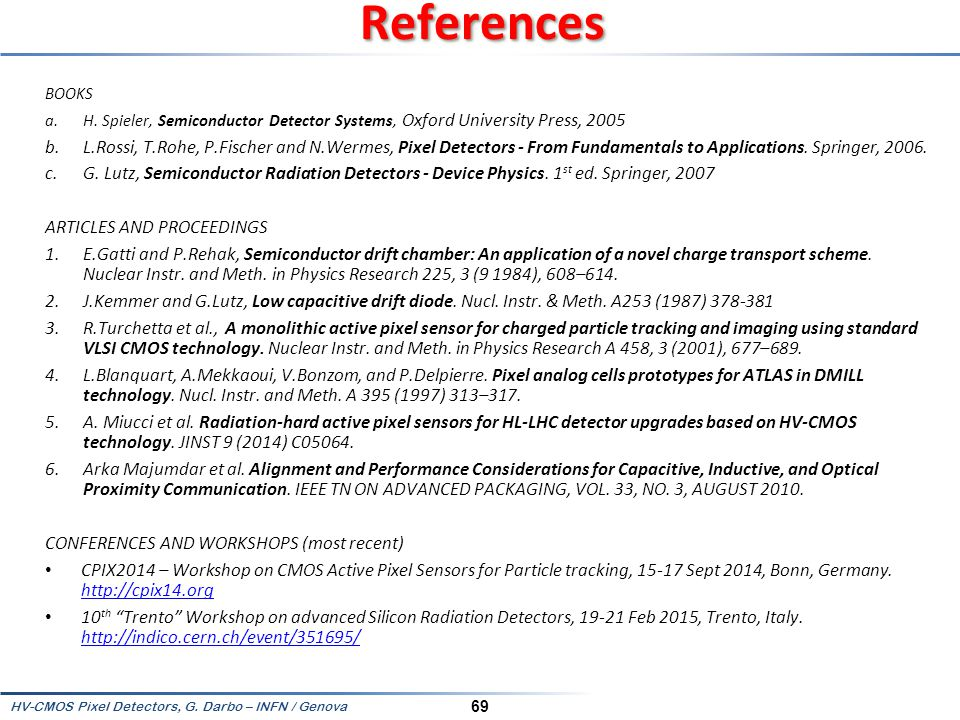 References BOOKS. H. Spieler, Semiconductor Detector Systems, Oxford University Press, 2005.