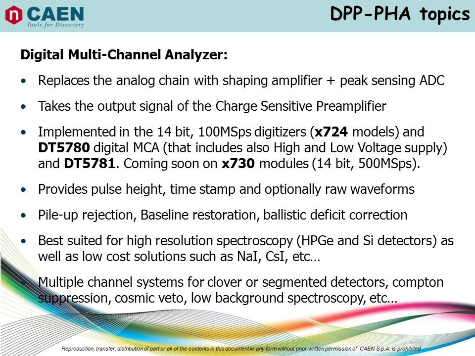 DPP-PHA topics Digital Multi-Channel Analyzer: