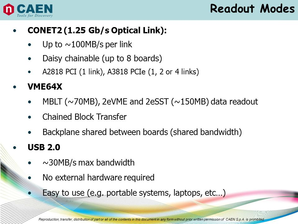 Readout Modes CONET2 (1.25 Gb/s Optical Link): Up to ~100MB/s per link