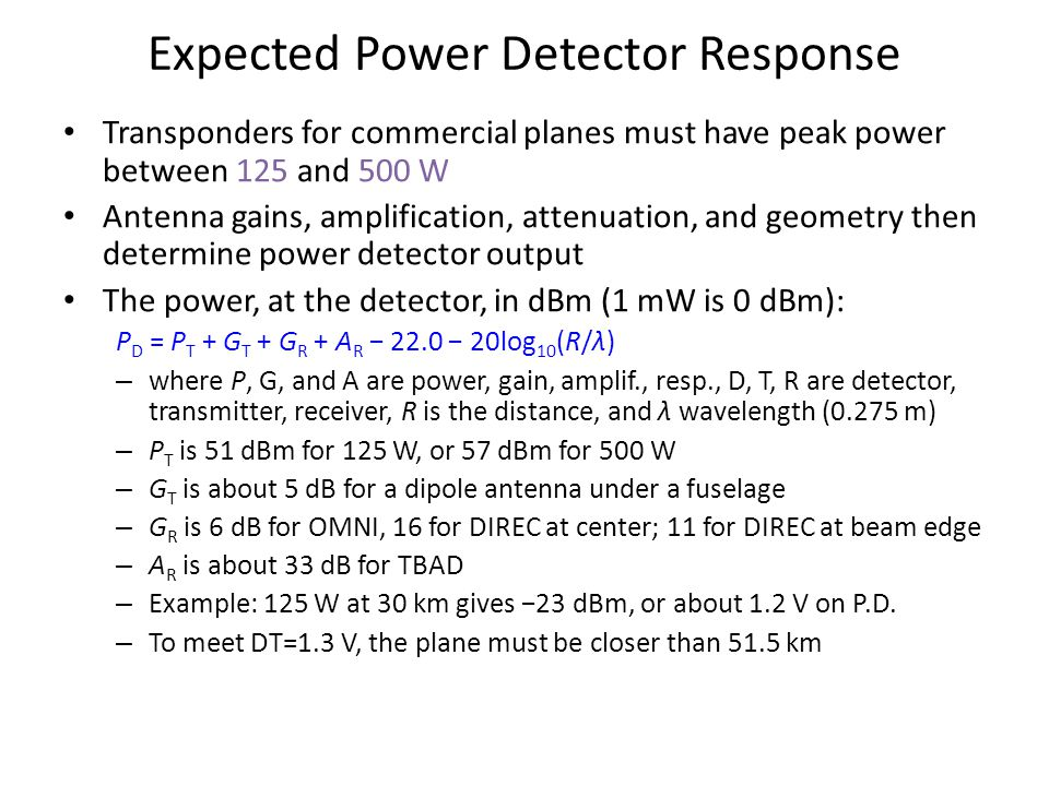 Expected Power Detector Response