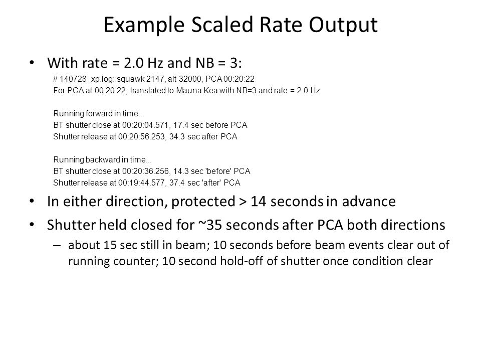 Example Scaled Rate Output