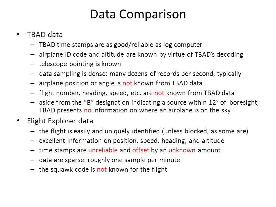 Data Comparison TBAD data Flight Explorer data