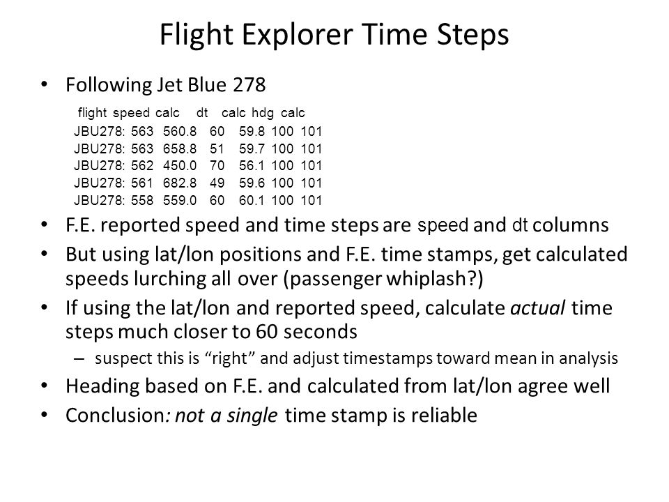 Flight Explorer Time Steps