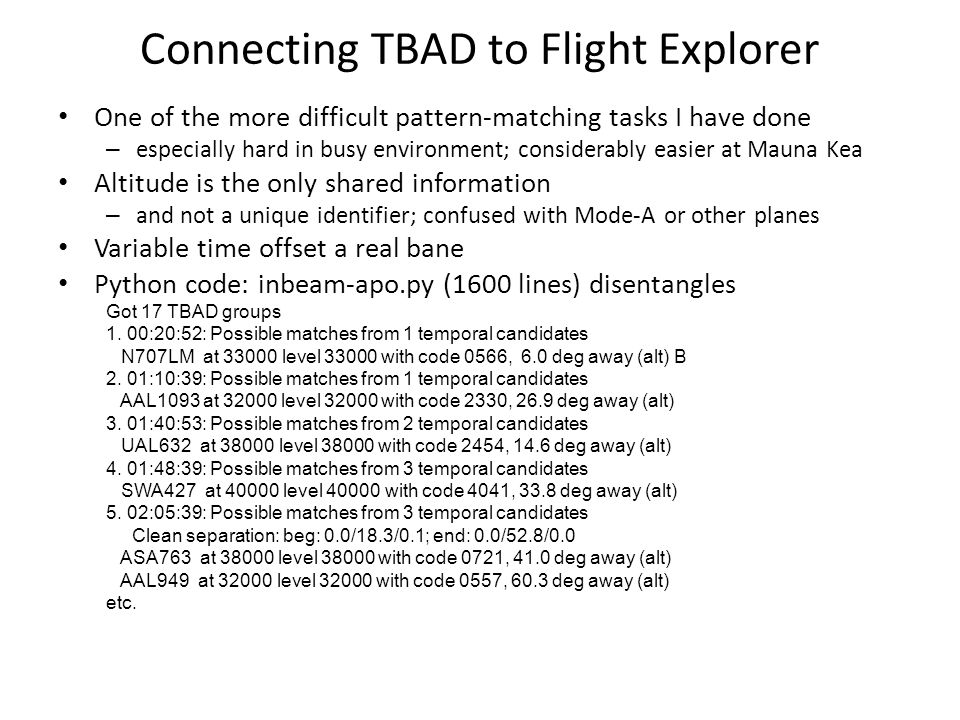 Connecting TBAD to Flight Explorer
