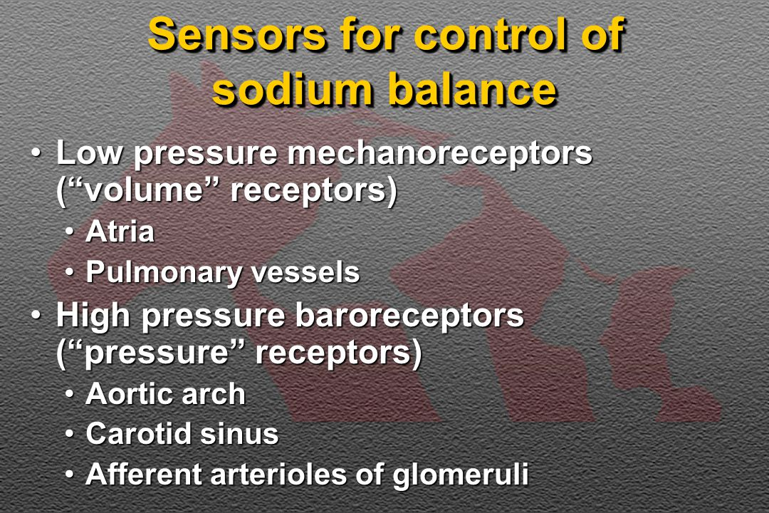 Sensors for control of sodium balance