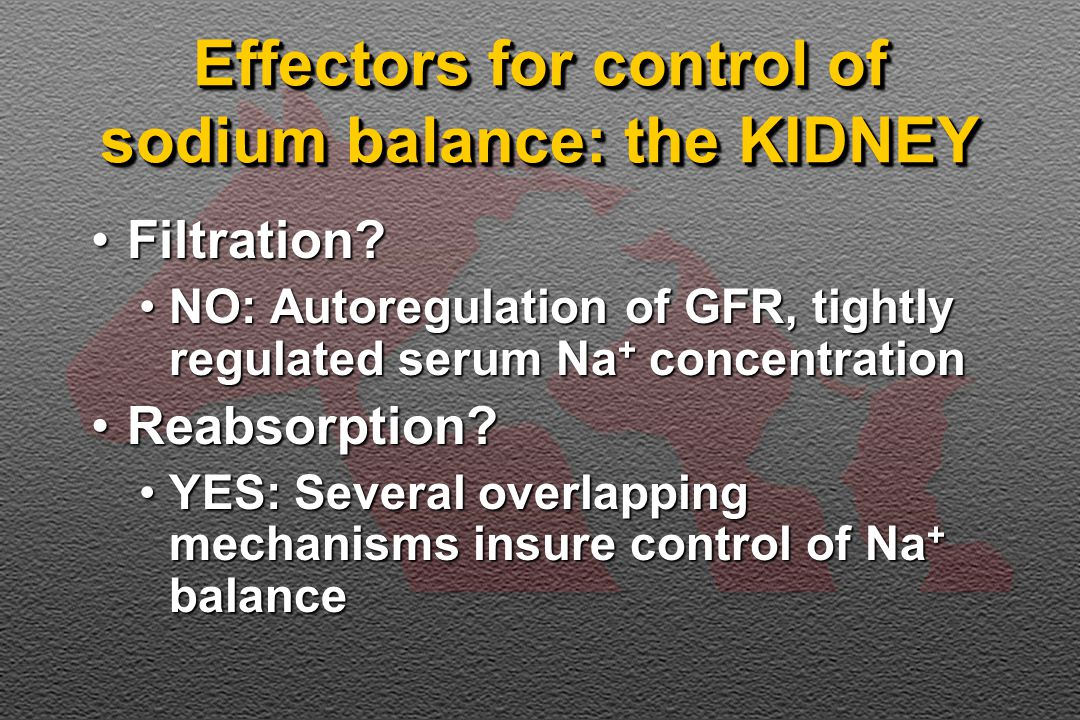 Effectors for control of sodium balance: the KIDNEY