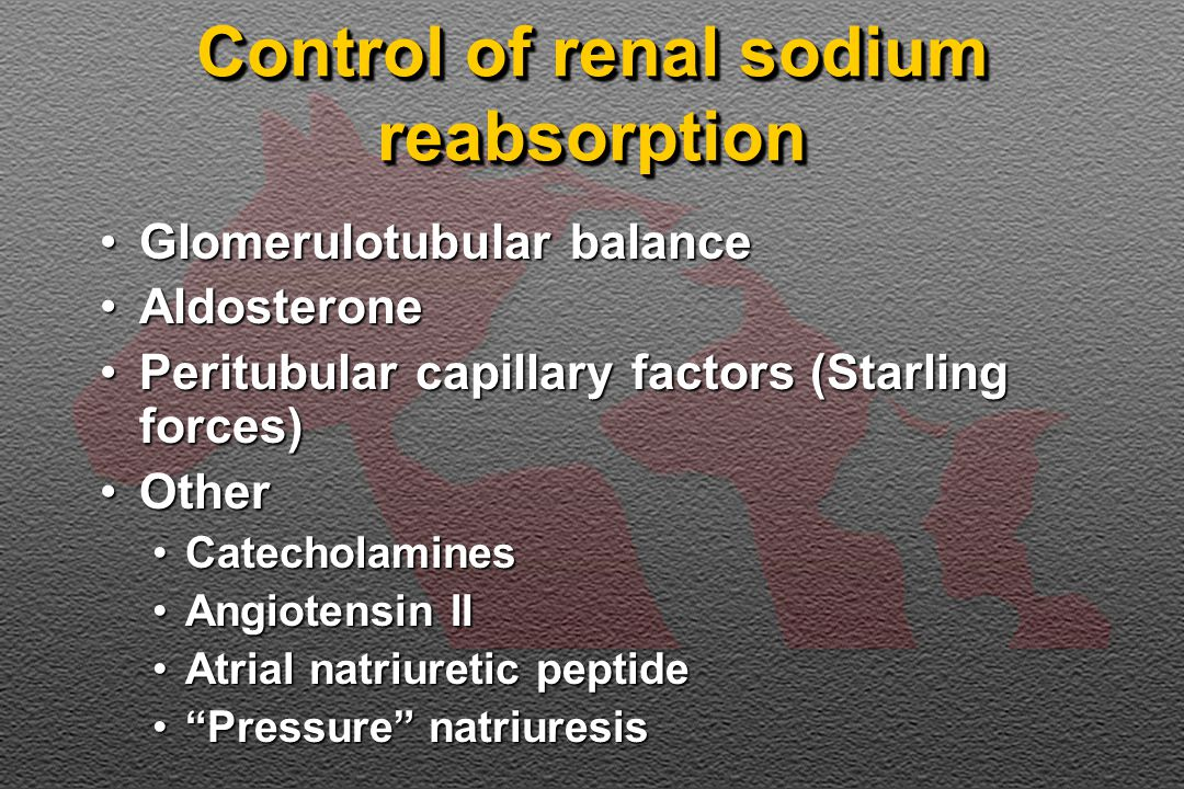 Control of renal sodium reabsorption