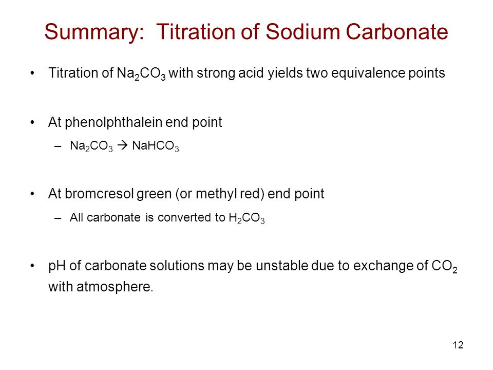 Summary: Titration of Sodium Carbonate