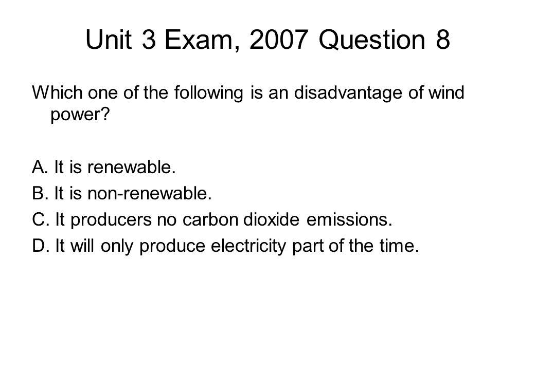 Unit 3 Exam, 2007 Question 8