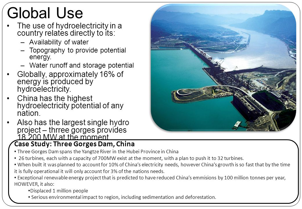 Global Use The use of hydroelectricity in a country relates directly to its: Availability of water.