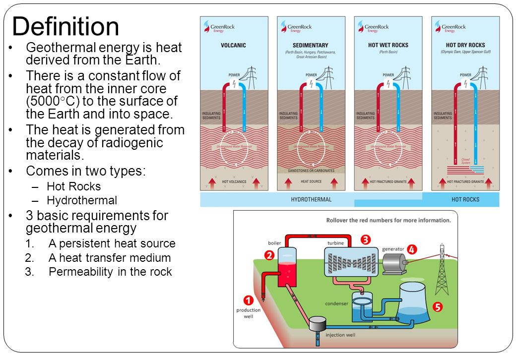 Definition Geothermal energy is heat derived from the Earth.