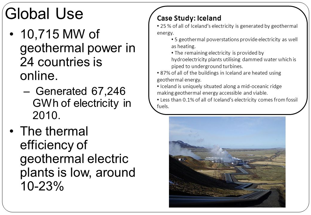 Global Use 10,715 MW of geothermal power in 24 countries is online.