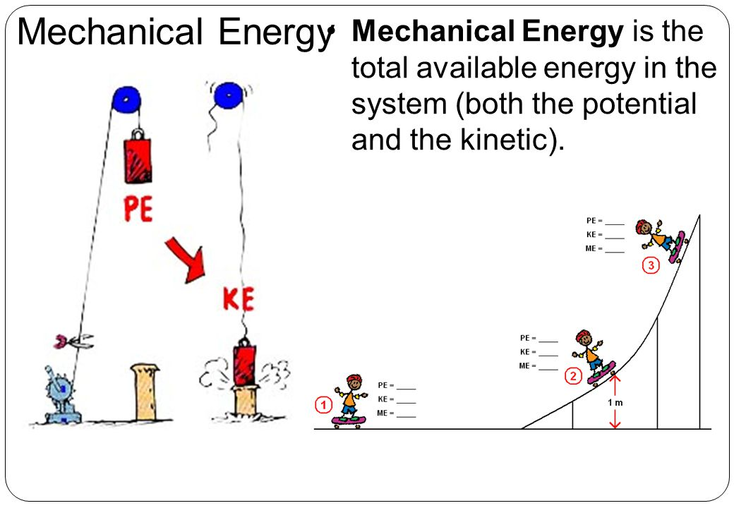 Mechanical Energy Mechanical Energy is the total available energy in the system (both the potential and the kinetic).