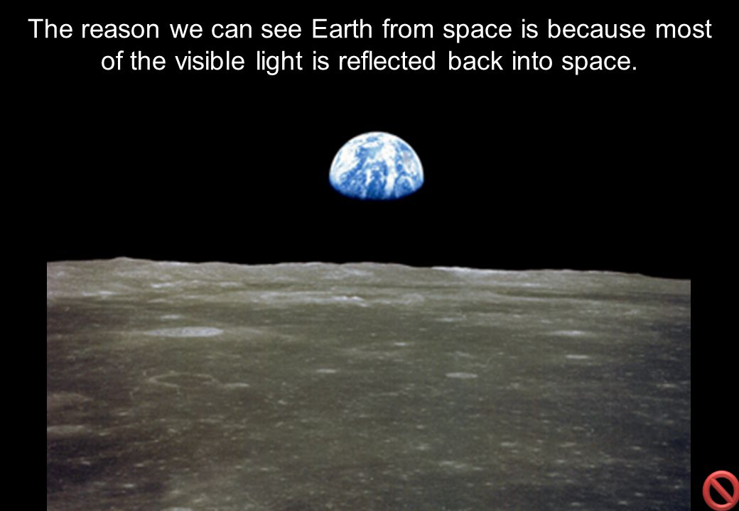 The reason we can see Earth from space is because most of the visible light is reflected back into space.