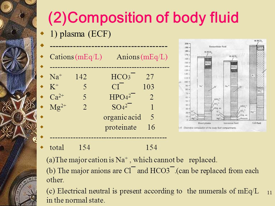 (2)Composition of body fluid