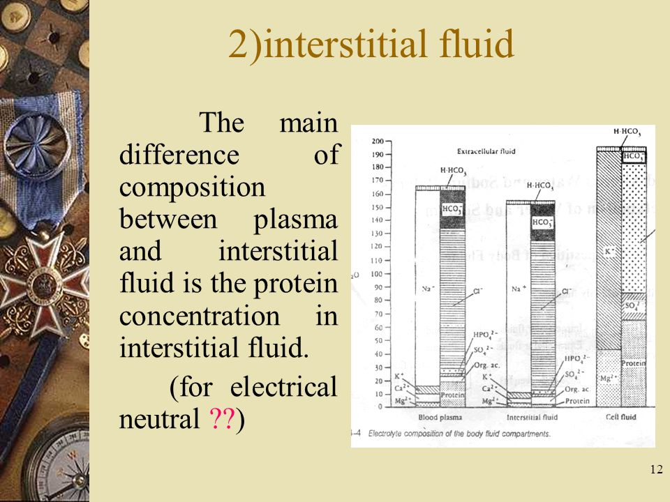 2)interstitial fluid The main difference of composition between plasma and interstitial fluid is the protein concentration in interstitial fluid.