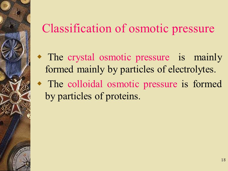 Classification of osmotic pressure