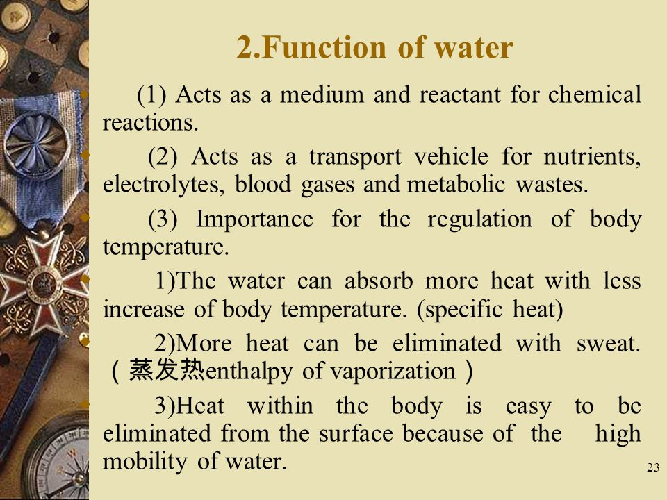 2.Function of water (1) Acts as a medium and reactant for chemical reactions.