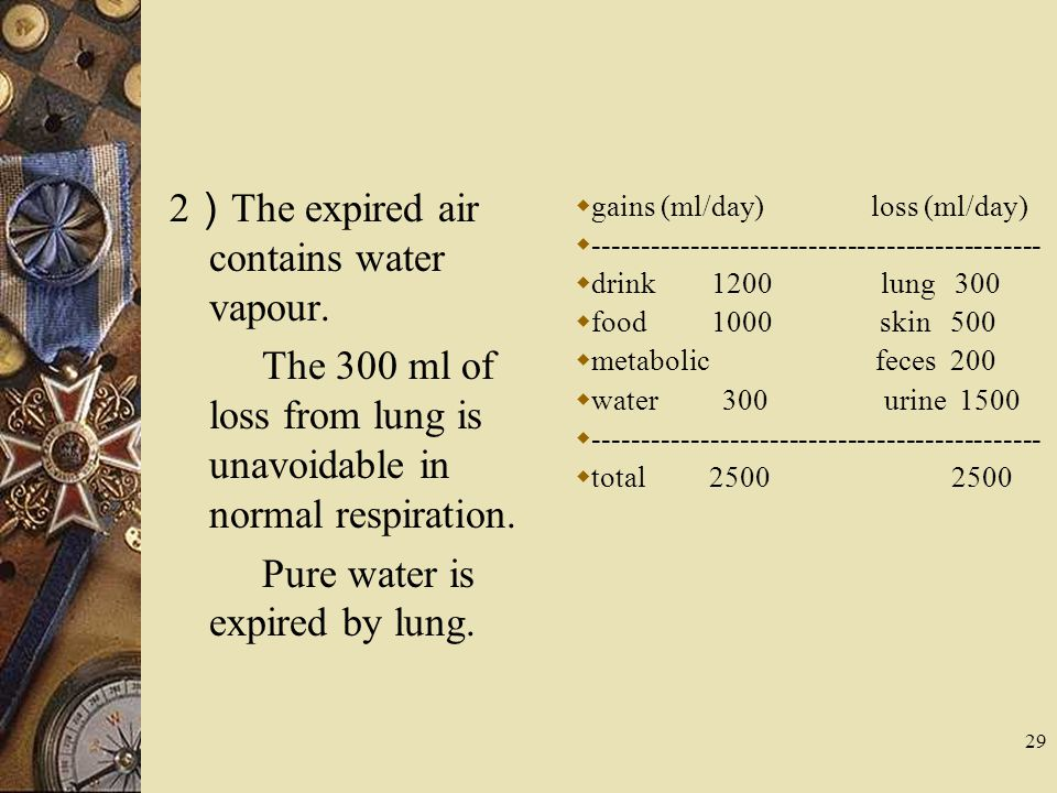 2)The expired air contains water vapour.
