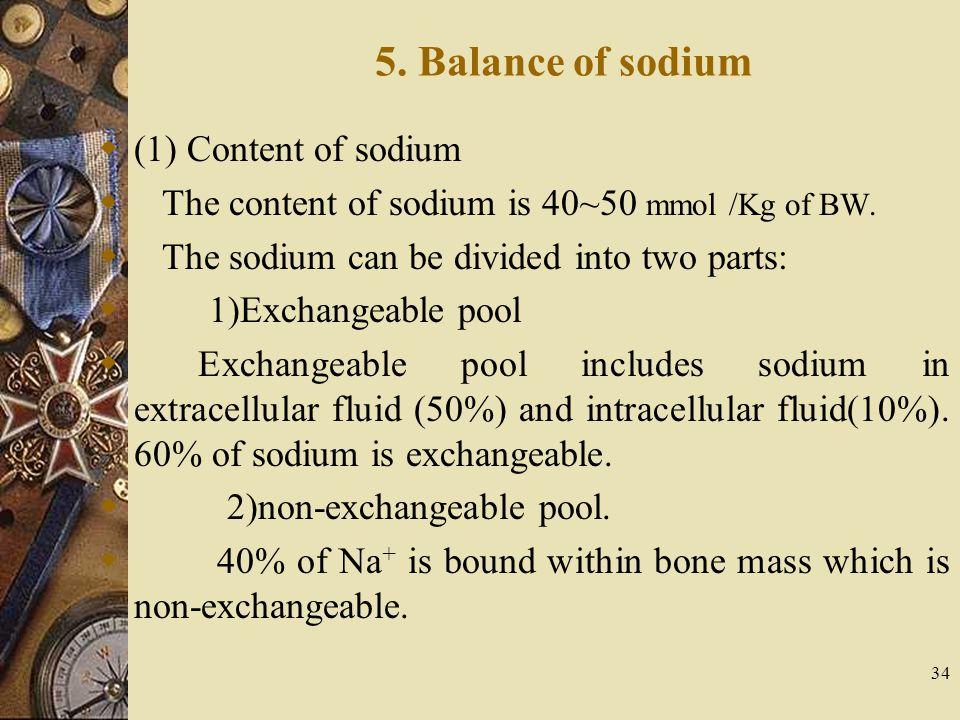 5. Balance of sodium (1) Content of sodium