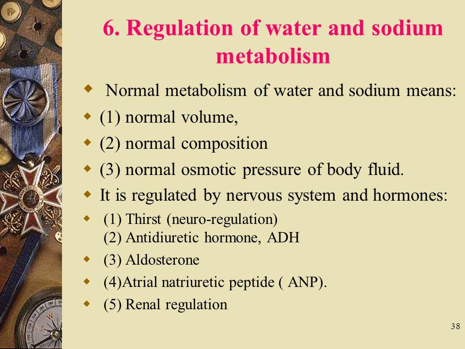 6. Regulation of water and sodium metabolism