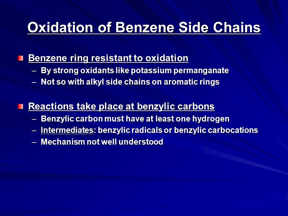 Oxidation of Benzene Side Chains