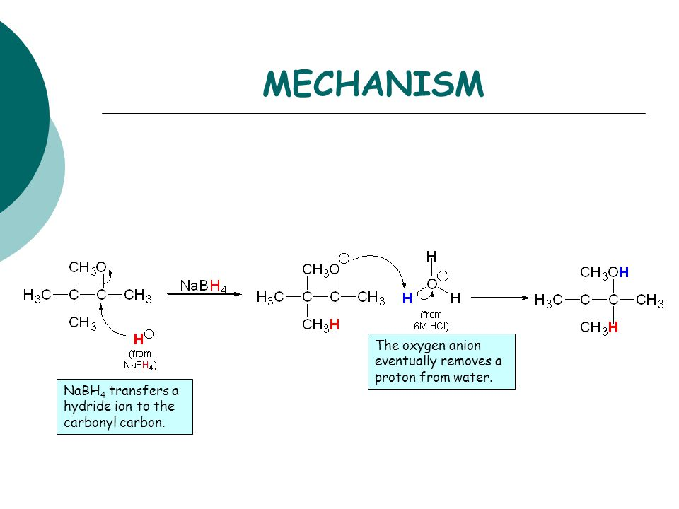 MECHANISM The oxygen anion eventually removes a proton from water.
