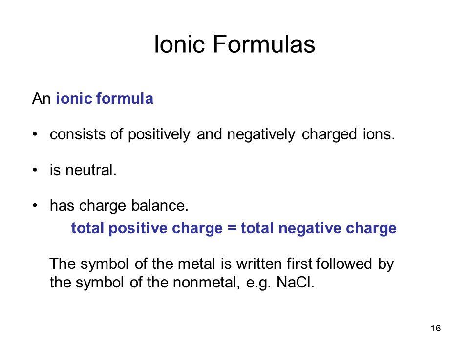 Ionic Formulas An ionic formula