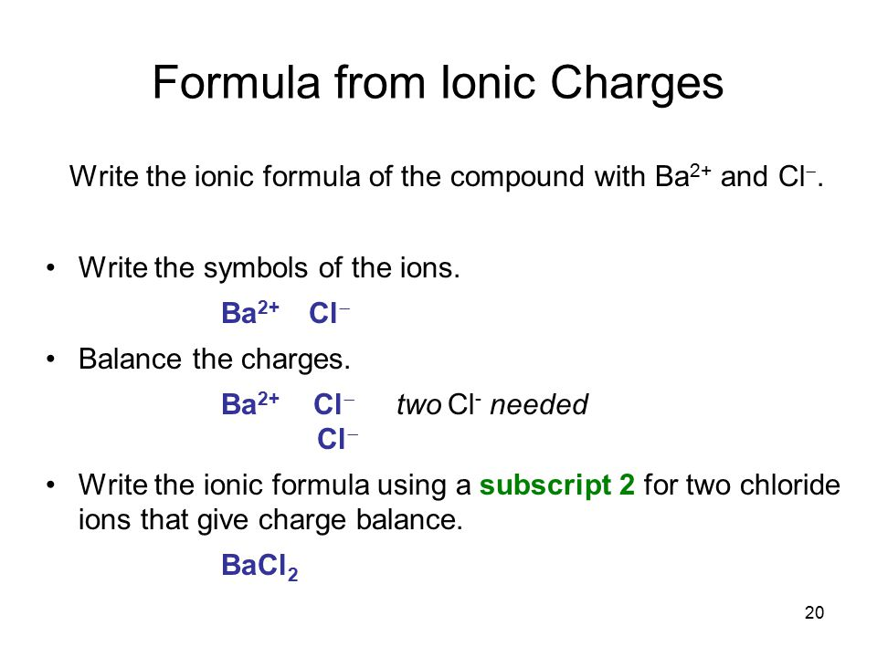Formula from Ionic Charges