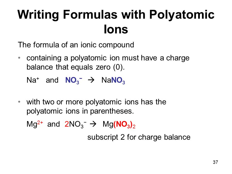 Writing Formulas with Polyatomic Ions