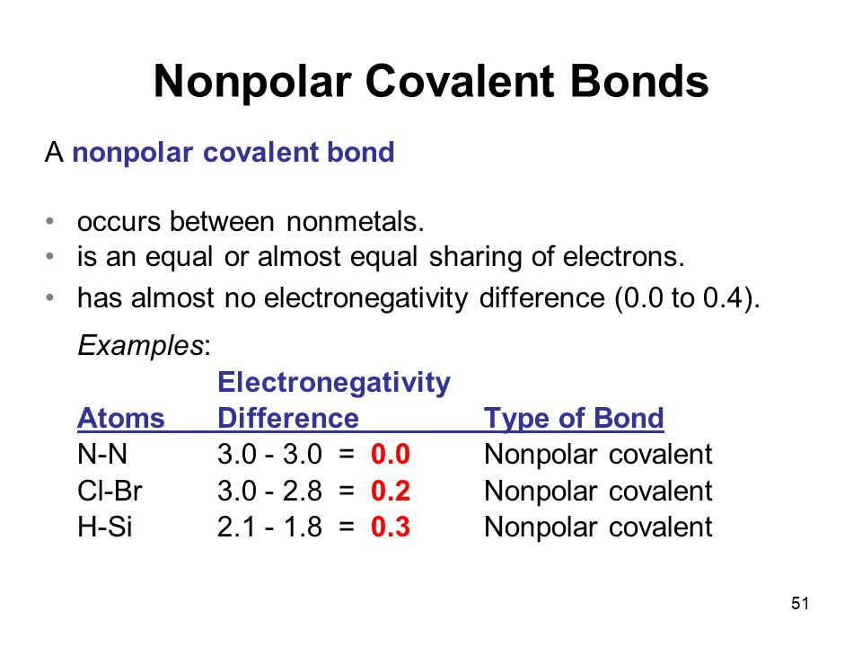 Chapter 4 Octet Rule a... Nonpolar Covalent Bond Examples