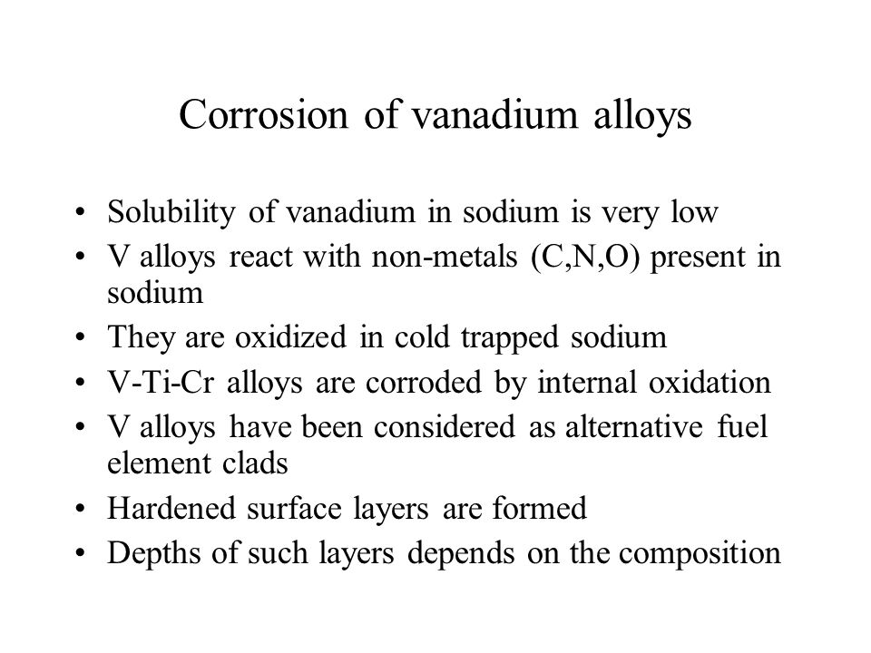 Corrosion of vanadium alloys