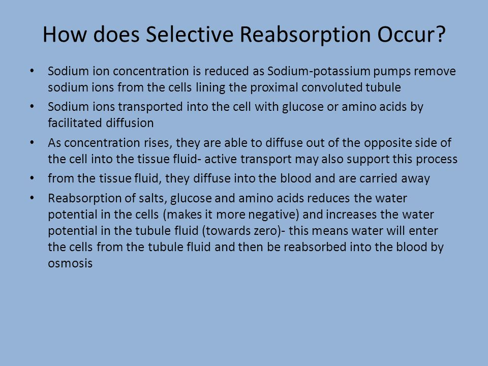 How does Selective Reabsorption Occur