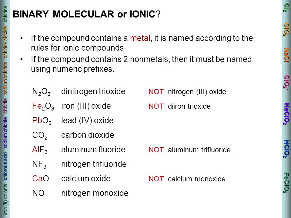 BINARY MOLECULAR or IONIC