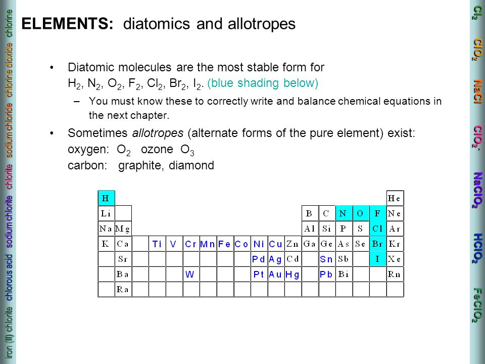 ELEMENTS: diatomics and allotropes