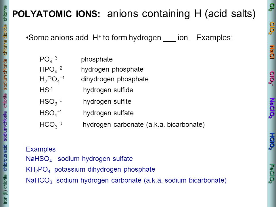 POLYATOMIC IONS: anions containing H (acid salts)