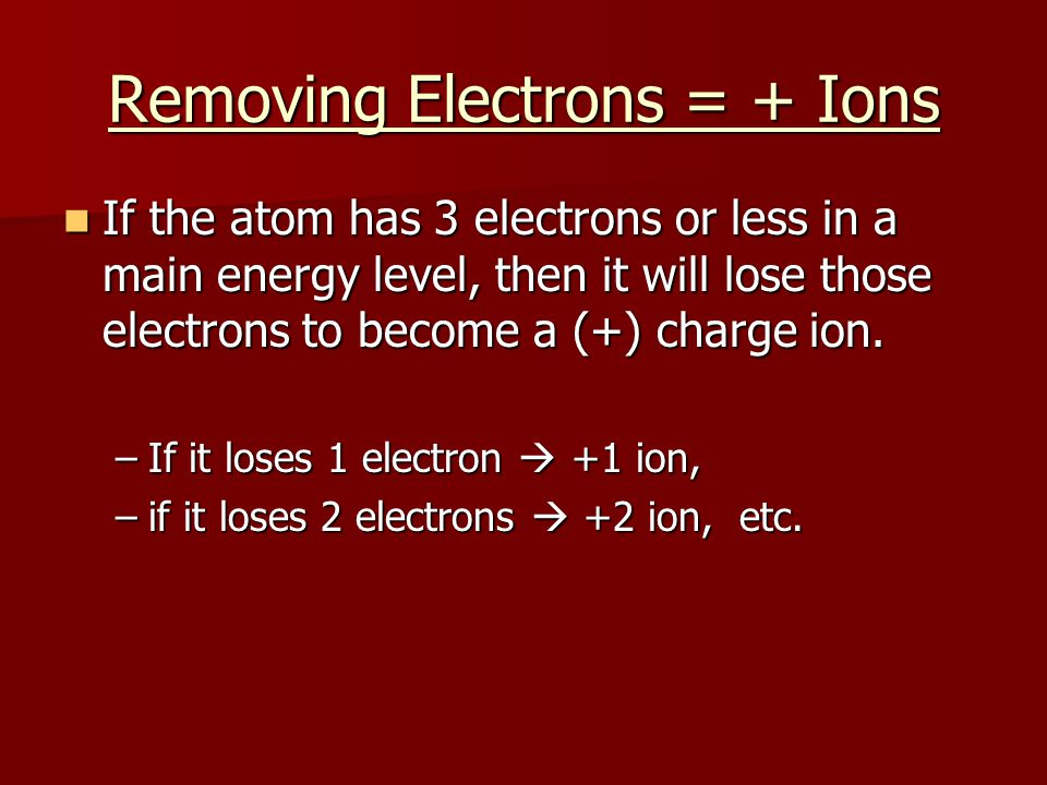 Removing Electrons = + Ions