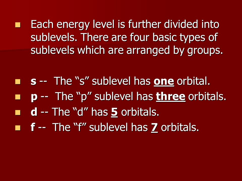 Each energy level is further divided into sublevels