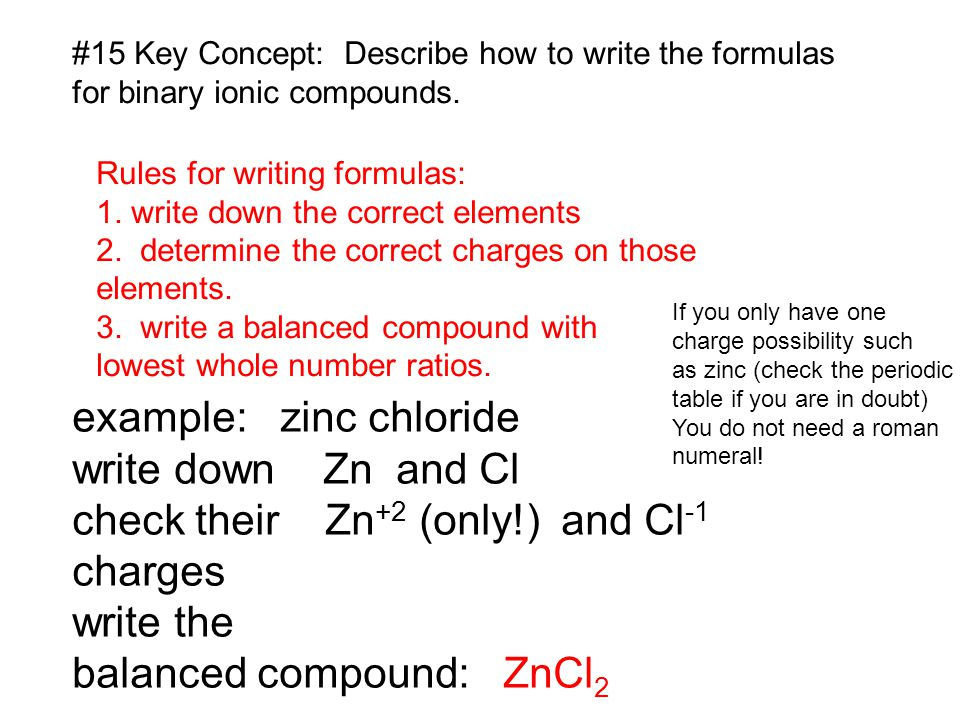 example: zinc chloride write down Zn and Cl