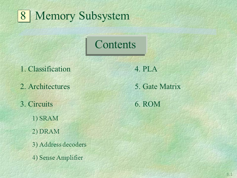 8 Memory Subsystem Contents 1. Classification 2. Architectures