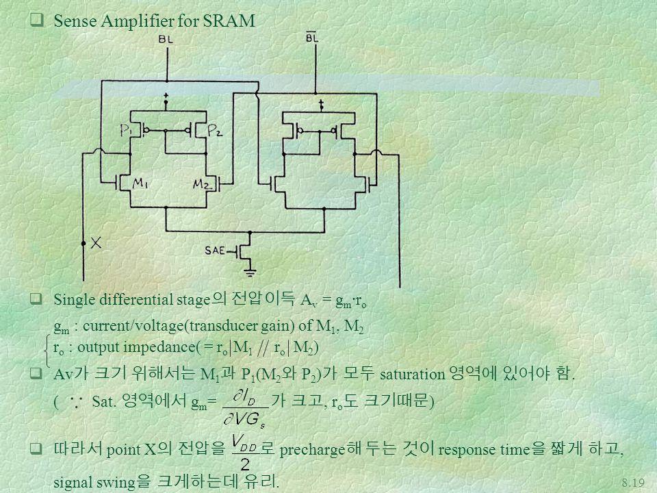  Sense Amplifier for SRAM Single differential stage의 전압이득 Av = gm·ro