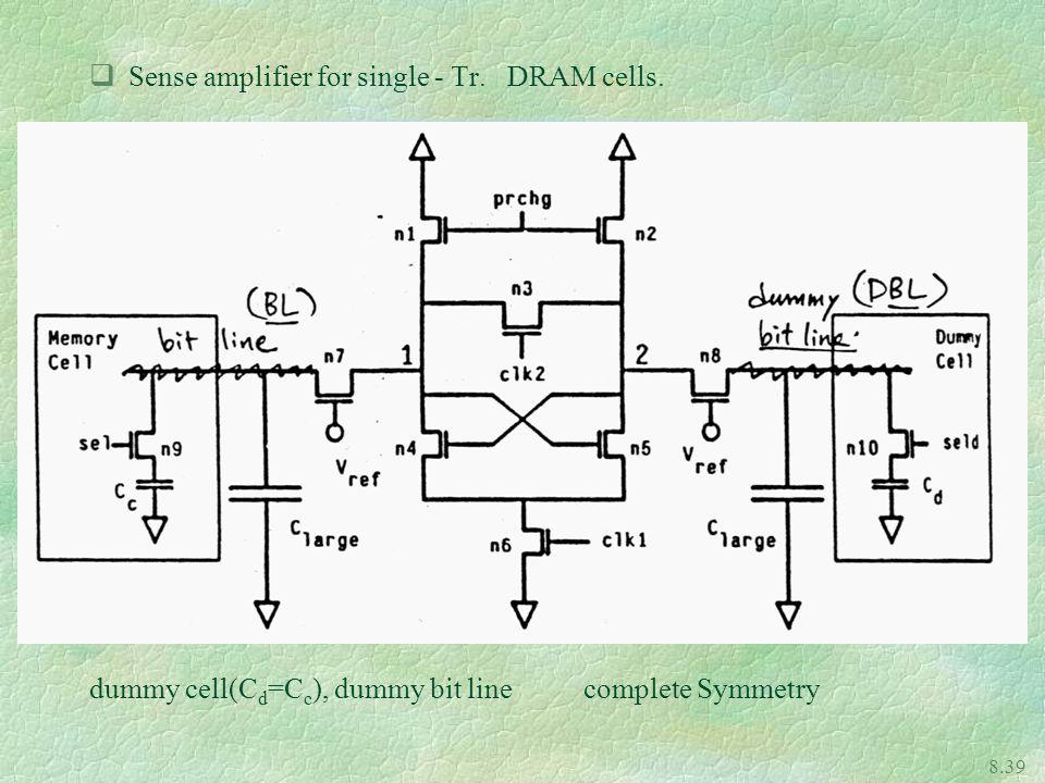 Sense amplifier for single - Tr. DRAM cells.