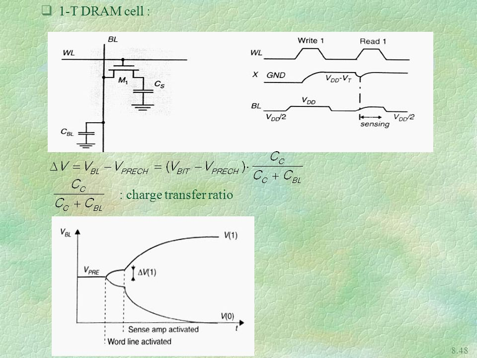 1-T DRAM cell : : charge transfer ratio