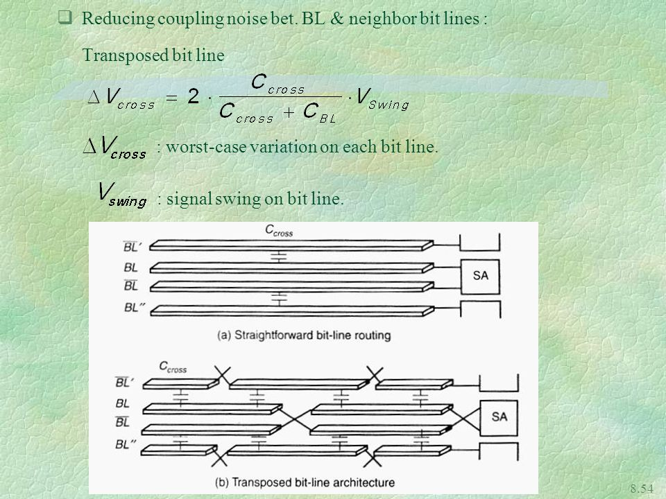Reducing coupling noise bet. BL & neighbor bit lines :